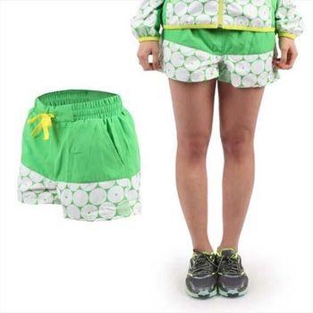 【MIZUNO】女運動短褲- 平織 慢跑 路跑 美津濃 綠白