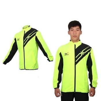【MIZUNO】男平織休閒外套 - 路跑 慢跑 立領 防風 美津濃 螢光綠黑