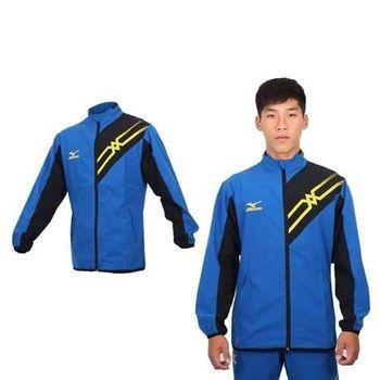 【MIZUNO】男平織休閒外套 - 路跑 慢跑 立領 防風 美津濃 藍黃黑