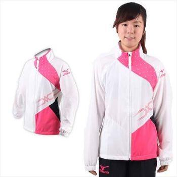 【MIZUNO】女休閒平織外套-風衣 立領 美津濃  白桃紅