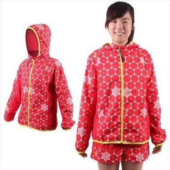 【MIZUNO】女連帽風衣外套- 慢跑 路跑 平織 美津濃 紅白