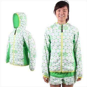 【MIZUNO】女連帽風衣外套- 慢跑 路跑 平織 美津濃 白綠黃