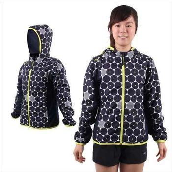 【MIZUNO】女連帽風衣外套- 慢跑 路跑 平織 美津濃 丈青白黃