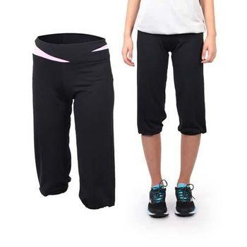 【SOFO】女七分長褲 -路跑 慢跑 運動 休閒 健身 黑粉