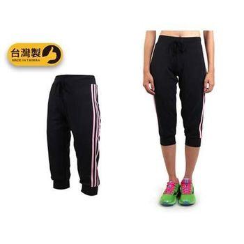 【SOFO】女七分褲-台灣製 慢跑 有氧 韻律 瑜珈 運動長褲 黑粉
