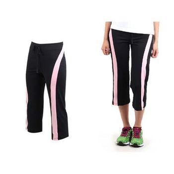 【SOFO】女七分褲-有氧 瑜珈 韻律 運動長褲  黑粉