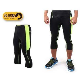 【SOFO】男緊身七分褲-慢跑 路跑 束褲 緊身褲 緊身長褲 台灣製 黑螢光綠