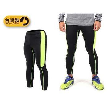 【SOFO】男緊身長褲-台灣製 慢跑 路跑 健身 緊身褲 束褲 黑螢光綠