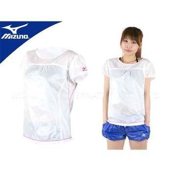 【MIZUNO】女短袖防風T恤-路跑 抗曬 抗UV 防撥水  白