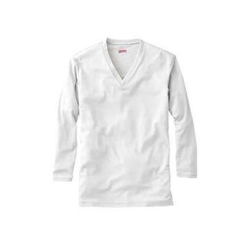 【MIZUNO】男V領長袖T恤發熱衣 保暖 消臭  淺灰