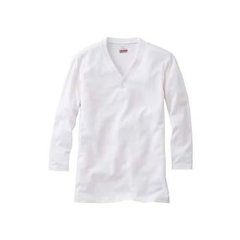 【MIZUNO】BREATH THERMO 男V領長袖T恤發熱衣-保暖 消臭  白