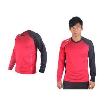 【MIZUNO】男網球長袖T恤-排球 羽球 長袖T恤 美津濃 紅黑