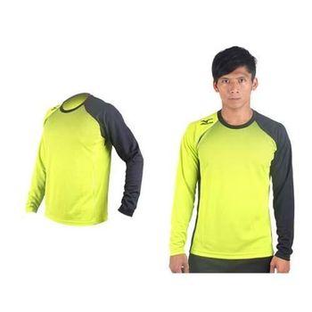 【MIZUNO】男網球長袖T恤-排球 羽球 長袖T恤 美津濃 芥末綠黑