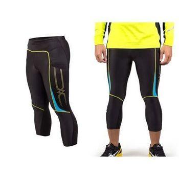 【MIZUNO】日本進口 男七分緊身褲-長褲 慢跑 路跑 馬拉松  黑黃