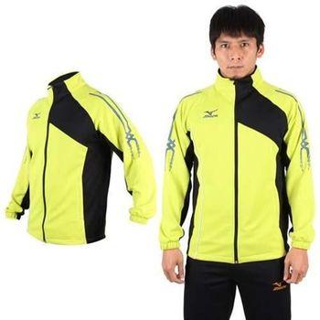 【MIZUNO】男針織運動外套- 立領 美津濃  芥末黃黑