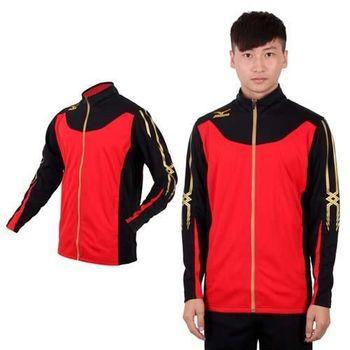 【MIZUNO】SLIM FIT 男運動外套  針織 立領 休閒外套 紅黑