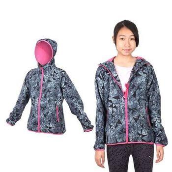 【MIZUNO】女平織外套 - 路跑 慢跑 運動 連帽 立領 美津濃 格紋黑