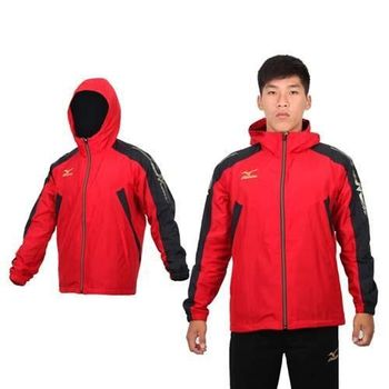 【MIZUNO】男半長風衣外套 - 刷毛 保暖 防風 立領 連帽 美津濃 紅黑金