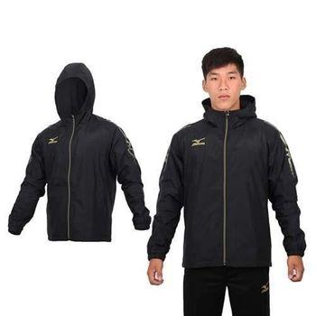 【MIZUNO】男半長風衣外套 - 刷毛 保暖 防風 立領 連帽 美津濃 黑金