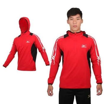 【MIZUNO】男長袖連帽T恤 - 路跑 慢跑 刷毛 保暖 美津濃 紅黑白