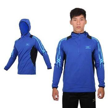 【MIZUNO】男長袖連帽T恤 - 路跑 慢跑 刷毛 保暖 美津濃 藍水藍黑