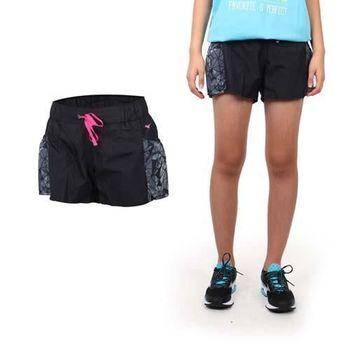 【MIZUNO】女平織短褲 - 路跑 慢跑 運動 健身 戶外 休閒 美津濃 格紋黑