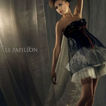 【LE PAPILLON】蕾絲鑲水晶鑽馬甲洋裝