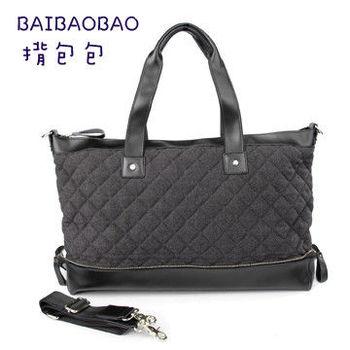 【BEIBAOBAO】韓國菱格布配真皮肩揹側揹包(經典灰)