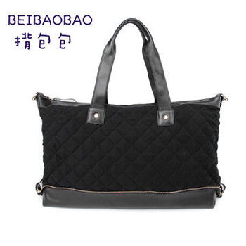 【BEIBAOBAO】韓國菱格布配真皮肩揹側揹包(時尚黑)