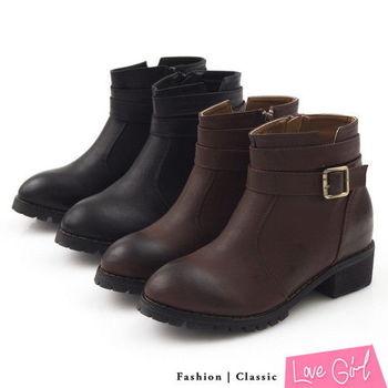 ☆Love Girl☆率性男孩風簡約側釦內增高工程靴