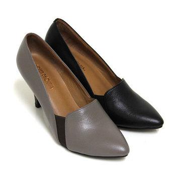 【GREEN PHOENIX】精明完美素面俐落剪裁全真皮尖頭高跟鞋-灰色、黑色