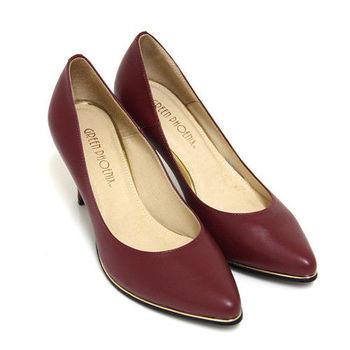 【GREEN PHOENIX】高雅內斂極簡金邊條全真皮尖頭高跟鞋-紅色