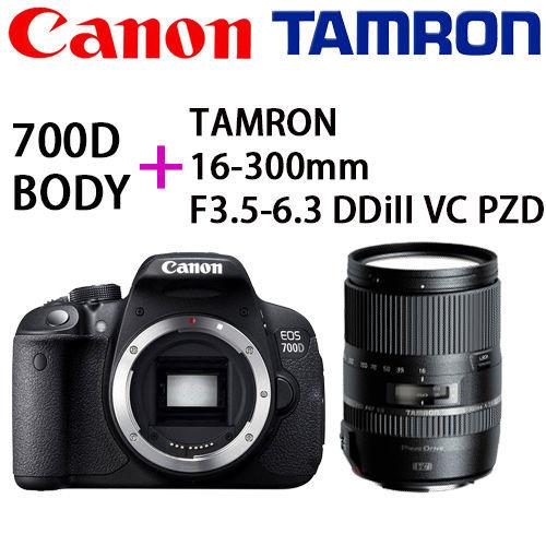 [32G+電池組]【Canon】 EOS 700D 單機身+ TAMRON 16-300mm F3.5-6.3 DDiII VC PZD (公司貨)