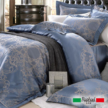 【Raphael拉斐爾】藍爵-緹花雙人四件式床包兩用被套組