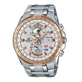 CASIO EDIFICE 世界地圖漫遊去時尚運動剛毅腕錶-銀-EFR-550D-7A