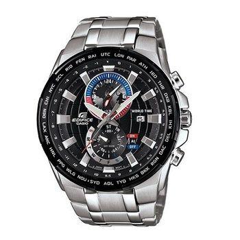 CASIO EDIFICE 世界地圖漫遊去時尚運動剛毅腕錶-黑-EFR-550D-1A