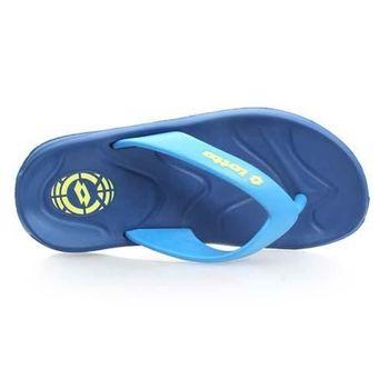 【LOTTO】足球風緩震男夾腳拖鞋-人字拖 海灘 涼鞋 拖鞋 寶藍