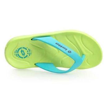 【LOTTO】足球風緩震男夾腳拖鞋-人字拖 海灘 涼鞋 拖鞋 綠藍