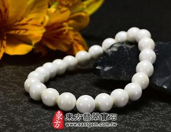 【東方翡翠寶石】白硨磲天然玉石珠串手環 (白色,珠徑約8mm)WCG015