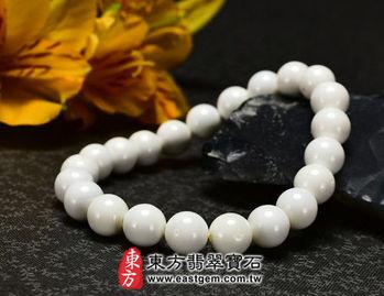 【東方翡翠寶石】白硨磲天然玉石珠串手環 (白色,珠徑約8mm)WCG016