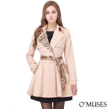 【OMUSES】英式豹紋風衣外套11-9156(S-2L)