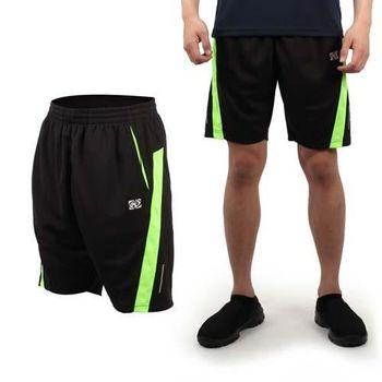 【FIRESTAR】男休閒短褲-運動短褲 慢跑 路跑 籃球褲 黑螢光綠