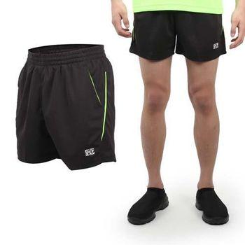 【FIRESTAR】男休閒短褲-慢跑 路跑 運動褲 台灣製 黑螢光綠