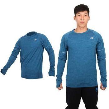 【NEWBALANCE】男長袖T恤 - 長T NB 路跑 慢跑 深藍