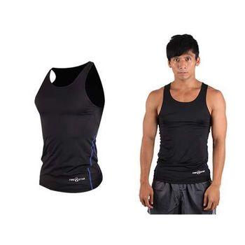【FIRESTAR】男緊身背心-台灣製 慢跑 路跑 健身 重訓 無袖緊身衣 黑寶藍