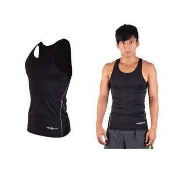 【FIRESTAR】男緊身背心-台灣製 慢跑 路跑 健身 重訓 無袖緊身衣 黑灰