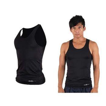 【FIRESTAR】男緊身背心-台灣製 慢跑 路跑 健身 重訓 無袖緊身衣 黑