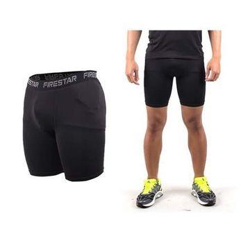 【FIRESTAR】男機能緊身短褲-慢跑 路跑 運動短褲  黑