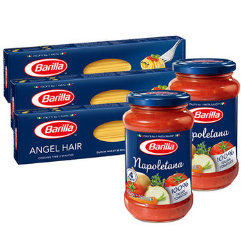 百味來 義大利天使麵(500g)x3+拿坡里蔬菜蕃茄義大利麵醬(400g)x2