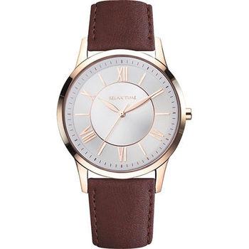 RELAX TIME RT58 經典學院風格腕錶-玫瑰金框x咖啡/42mm RT-58-16M